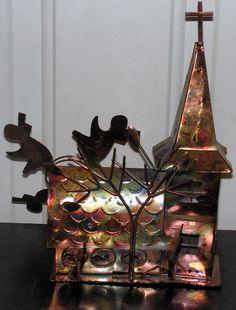 Vintage Copper Music Box Church Tree Angels