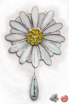 Stained glass Daisy Suncatcher by EccentricFingers on Etsy