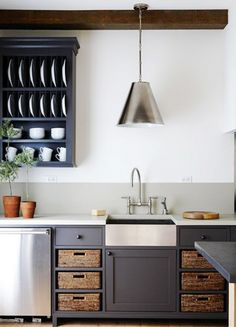 Having a Moment: Blue-Gray Kitchen Cabinets via @domainehome