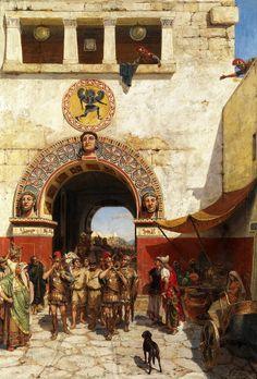 ALEXANDER SVEDOMSKY (1848-1911) - Gate in Volterra, Etruria