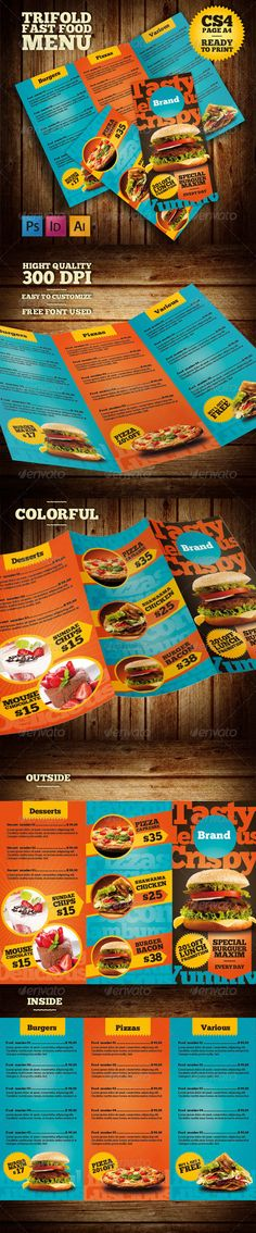 Trifold Fast Food Menu Template #design #speisekarte Download: http://graphicriver.net/item/trifold-fast-food-menu/7876227?ref=ksioks