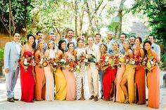 24 Summer Wedding Ideas to Copy for Your Own Celebration - Check out these steal-worthy summer wedding ideas, themes, and tips before you start planning your warm weather soirée. colorful bridesmaids yellow red orange {Vanessa Jaimes Floral Design} Arab Wedding, Summer Wedding, Yellow Bridesmaid Dresses, Wedding Dresses, Bridesmaids, Yellow Wedding Invitations, Wedding Styles, Wedding Ideas, Wedding Table