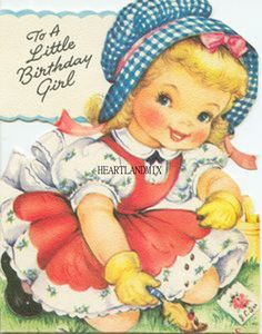 Pretty Little Birthday Girl Gardener Pinafore Dress Vintage Greeting Card MC Vintage Birthday Cards, Kids Birthday Cards, Vintage Greeting Cards, Vintage Postcards, Vintage Images, Girl Birthday, Birthday Presents, Happy Birthday, Old Cards