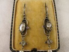 Antique Genuine Arts & Crafts Silver, Abalone, Paste Earrings