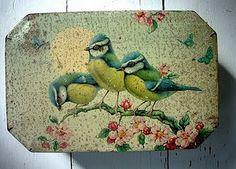Vintage Tin with Birds