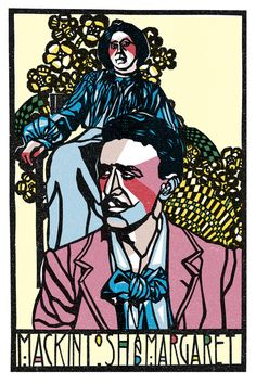 Portrait of Charles Rennie Mackintosh and his wife Margaret Macdonald by artist Zhang Liang. Mackintosh was a Scottish architect,  Art Nouveau artist, designer, and  water colourist, his unique, innovative style would change the art world forever.