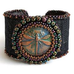 Bead embroidered cuff bracelet, polymer clay dragonfly cabochon ...