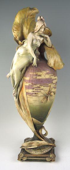 A Monumental Art Nouveau Iris Amphora Vase.