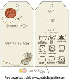 Knitting Patterns Gifts Crochet/knitting Gift Tags with care instructions {Free Printables} by Just Be Happy Crochet Loom Knitting, Knitting Patterns, Crochet Patterns, Stitch Patterns, Free Printable Gift Tags, Free Printables, Printable Templates, Just Be Happy, Crochet Gifts