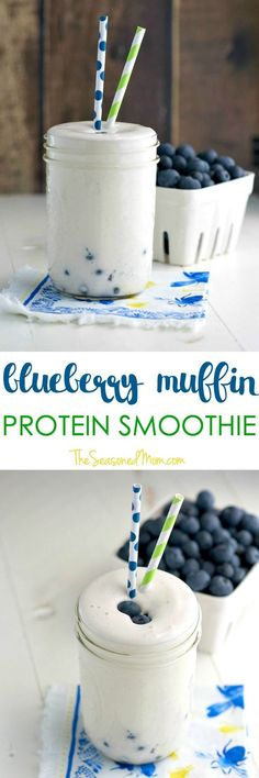 This creamy and filling Blueberry Muffin Protein Smoothie is bursting with fresh, juicy blueberries! So thick and satisfying, it's a healthy, clean eating breakfast that's best eaten with a spoon! (Healthy Shakes And Smoothies) Smoothie Proteine, Protein Smoothies, Protein Shake Recipes, Fruit Smoothies, Pineapple Smoothies, Vegetarian Smoothies, Cantaloupe Smoothie, Diabetic Smoothies, Milkshake Recipes