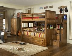 Timber Lodge Full over Full Bunk Bed with Bunk Bookcase - with Trundle and Storage Steps