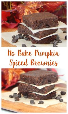 No Bake Pumpkin Spiced Brownies. Fall is here and now you can taste it! These brownies are flourless, gluten free, dairy free and egg free but still have all of the flavor! (Fall Bake Pumpkin)