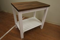White Kitchen Cart with Butcher Block Walnut Top by McClure Tables.
