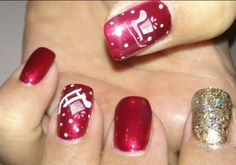 Christmas nails!  Acrylic nails with stamped nail art and China Glaze Glitter polish with gel top coat.