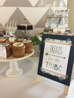 Treats table at a tribal boho birthday party! See more party planning ideas at http://CatchMyParty.com!
