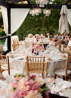 Light pink floral wedding centerpieces with white accents, photo by Lisa Lefkowitz Photography