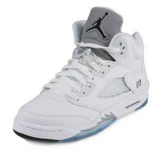72b24b65b9b8 Nike Jordan Kids Air Jordan 5 Retro Bg White Black Metallic Silver  Basketball Shoe 7 Kids US