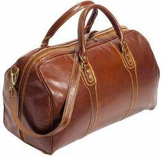 Cenzo Duffle Vecchio Brown Italian Leather Weekender Travel Bag: Wedding gift
