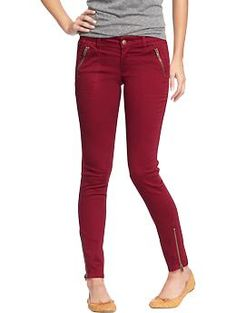 "Women's The Rockstar Zip-Pocket Pants | Old Navy (NOTE: color is ""Wine Country"" -- only available online. Buy to replace burgundy H&M skinnies.)"