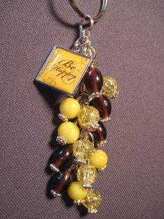 Yellow and Brown Glass Bead Purse Charm / Key Chain / Car Mirror Dangle by FoxyFundanglesByCori, $10.00