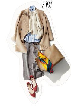 まろやかカラーとチアフルな小物で作るコーディネートは、おしゃれ度もハッピー感もきちんとさも抜群♪。疲れている日こそ、こんないいとこどりスタイルで自分を励まして。 Hijab Fashion, Fashion Dresses, Korean Fashion Work, Winter Outfits, Casual Outfits, Mode Hijab, Elegant Outfit, Capsule Wardrobe, Autumn Winter Fashion