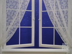 Open Window with Lace Curtains and Simulated Stars Beyond Photographic Print at Art.com