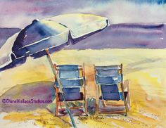 Front Row Seats, watercolor, beach chairs.