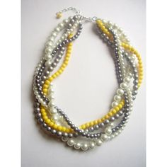 Grey and Yellow Wedding / The Noelle Necklace Pearl white gray silver yellow by tyrowild, found on polyvore.com