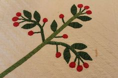 Detail, Antique Hand Appliqued Whig Rose Cherry Tree Branches Quilt Made in PA 1850'S | eBay, hahmom