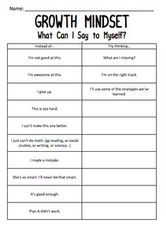 "Growth mindset worksheet - changing negative thoughts into positive ones . I love how even the positive but stagnant thought ""I'm awesome at this"" can be changed to remind students that we are all growing. Self Esteem Activities, Counseling Activities, Counseling Worksheets, Self Esteem Worksheets, Group Therapy Activities, Coping Skills Activities, Cbt Worksheets, Anger Management Activities, Mindfulness Activities"
