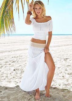 The outfir for the boho babe! Venus gauze crochet waist skirt with Venus off shoulder gaue crop top and Venus beach chic bracelet.