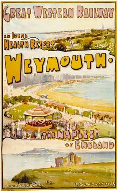 Vintage Repro Travel Poster Postcard GWR Great Western Railway to Weymouth Tourism Poster, Vintage Travel Posters, Retro Posters, Poster Vintage, Vintage Ads, Railway Posters, Great Western, Travel Memories, Advertising Poster