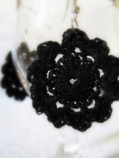A pair of black crocheted earrings.    Perfect to wear in any occasion! Gorgeous gift for everyone!    Thanks for watching!!    ~~~~~~~~~~~~~~~~~~~~~~