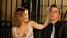 "Carrie Bradshaw season 6, episode 85 ""The Domino Effect"": Paco Rabanne dress; Cosabella bra; silver closed-toe heels; Judith Leiber purple handbag."