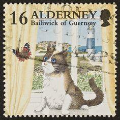 Postzegel met kat en vlindertje....................lbxxx/