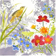 A yellow bird clings to green garden grass on a mottled gray ground textured with black contoured fern and flowers. Mixed flowers of red,