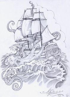 octopus ship   inkedideas   Flickr