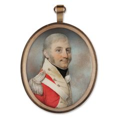 Portrait miniature of an Officer wearing the uniform of the 88th Regiment of Foot, his scarlet coatee with buff facings and silver epaulette, his belt-plate bearing the number '88', c. 1801.  Edward Nash (1778-1821)