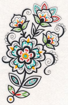 Flower Fancy Spray (Blackwork) design (M13171) from www.Emblibrary.com