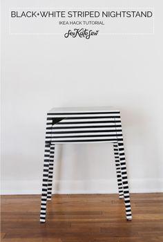 striped nightstand ikea hack