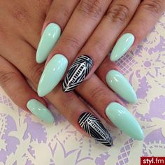 Baby Blue Nails w/ Accent Aztec Nails
