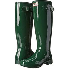 Hunter Original Tour Gloss Women's Rain Boots ($150) ❤ liked on Polyvore featuring shoes, boots, slip on boots, rubber boots, white boots, wellies boots and waterproof rain boots