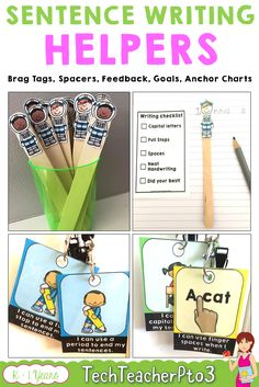 Sentence writing goals for kinder and Year 1 students. Anchor charts help to reinforce sentence goals and students are awarded brag tags when they reach their goal. Perfect for teaching language arts or for reinforcing activities to improve student writing. #sentencewriting #ela #englishlanguagearts #anchorcharts #goalsetting #teacherspayteachers
