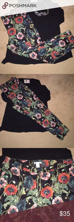 H&M poppy black floral pants H&M black floral pants with poppy flowers and greenery. Size 14 with some stretch. Sold out very quickly through H&M and I bought a size too large for me. In new condition with light wear.   Please note that all items are in used conditioning. In order to keep my price down and save the environment I do not package my items lavishly with extra paper (unless required). Please take note of these things before you purchase. Ask question! H&M Pants Ankle & Cropped