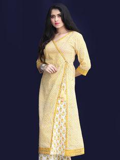 Rozana Diwa Angrakha Kurta  - KS21AK2178 Stylish Dress Designs, Stylish Dresses, Printed Kurti, Printed Cotton, Kurta Cotton, Kalamkari Dresses, Suit Pattern, Kurta Designs, Anarkali Suits