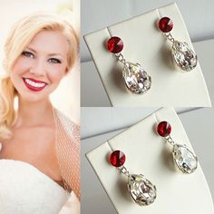 Bridal Earrings Swarovski Crystal Clear Earrings, drop earrings, white wedding earrings, red earrings