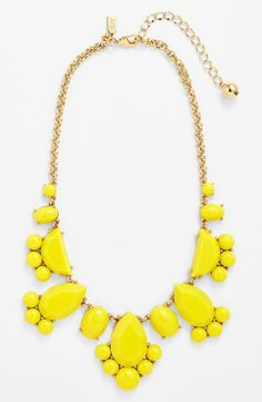 Love this bright yellow stone bib necklace for prom.