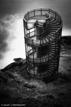 Leftover Steps by Mark Gvazdinskas on --- This lighthouse makes me sad. I can not image this was just a staircase without a light at the top. Stairway To Heaven, Mondrian, Stair Lift, Curved Staircase, Spiral Staircases, Dark Images, Pismo Beach, Shell Beach, Amazing Buildings
