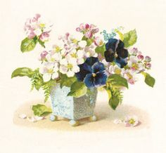 Antique Images: Free Flower Clip Art: Vintage Graphic of Pansies a...