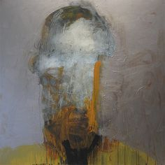 Head 16 HEAD SERIES STAINLESS OCHRE BLUE 2012 acrylic and mixed media on wood panel 48 x 48 in